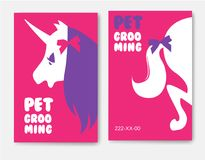 Business cards templates of grooming service pet with unicorn s Royalty Free Stock Photo