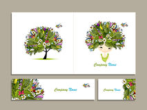 Business cards, tropical girl for your design. Vector illustration Stock Photography