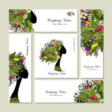 Business cards, tropical girl for your design. Vector illustration Royalty Free Stock Photography