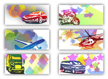Business cards with vehicles Royalty Free Stock Photos