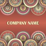 Business cards. Vintage style. With round patterns vector illustration