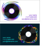 Business cards with vinyl records. On abstract background Royalty Free Stock Photo