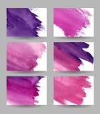Business cards violet set. Set of six violet business cards. Watercolor. Vector illustration stock illustration