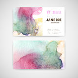 Business cards Watercolor Stock Photo