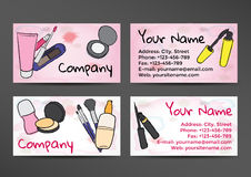 Business cards in watercolor style with the image of cosmetics Stock Photography