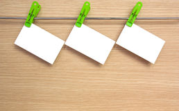 Business cards were hung on a steel clamp. Royalty Free Stock Image