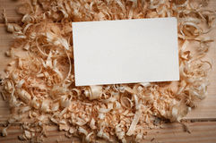 Business cards on wooden chips Royalty Free Stock Image