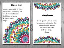 Business cards, yoga cards, corporate identity. Round pattern with purple, green, yellow polygons, boho, hipster background, wood texture Royalty Free Stock Image