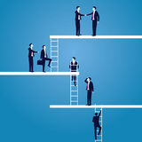Business Career concept. Businessmen Lead to Climb High Ladder. Vector illustration. Business target vision determination leadership career concept. Businessman Stock Image