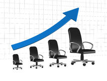 Business or career growth. One chart with armchairs that show a business growth or the career growth (3d render Royalty Free Stock Photos