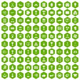 100 business career icons hexagon green. 100 business career icons set in green hexagon isolated vector illustration Royalty Free Stock Photo