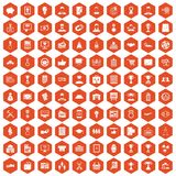 100 business career icons hexagon orange. 100 business career icons set in orange hexagon isolated vector illustration Stock Photo
