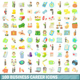 100 business career icons set, cartoon style Royalty Free Stock Photo