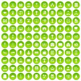 100 business career icons set green circle. Isolated on white background vector illustration vector illustration