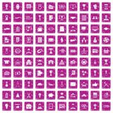 100 business career icons set grunge pink. 100 business career icons set in grunge style pink color isolated on white background vector illustration Stock Photo