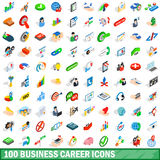 100 business career icons set, isometric 3d style Royalty Free Stock Photo