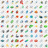 100 business career icons set, isometric 3d style Royalty Free Stock Image