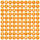 100 business career icons set orange. 100 business career icons set in orange circle isolated on white vector illustration vector illustration