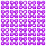 100 business career icons set purple. 100 business career icons set in purple circle isolated on white vector illustration Royalty Free Illustration