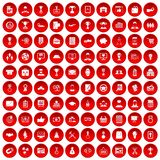 100 business career icons set red. 100 business career icons set in red circle isolated on white vector illustration royalty free illustration