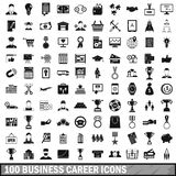 100 business career icons set, simple style Stock Photos
