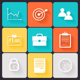Business career icons. White on colored squares with shadow Stock Image