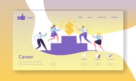 Business Career Landing Page Template. Website Layout with Flat People Characters Going to Success. Easy to Edit and Customize Mobile Web Site. Vector royalty free illustration