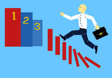 Business career. A metaphorical image of a man, is rapidly moving up the career ladder Royalty Free Stock Photo