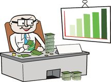 Business cartoon. Cartoon of businessman in office counting money Stock Image