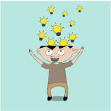 Business cartoon. Businessman get the idea ,business concept Stock Images