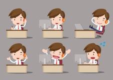 Business cartoon, Call center. Call center man working on office Stock Photo