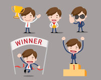 Business cartoon and character series. Business character - winner people, medal Royalty Free Stock Images