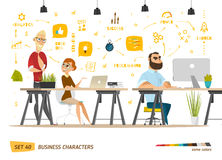 Business cartoon characters collection. Royalty Free Stock Image