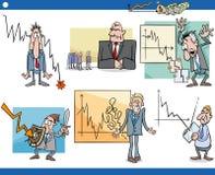 Business cartoon crisis concepts set Royalty Free Stock Photos
