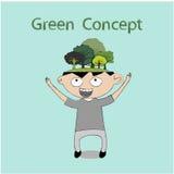 Business cartoon. Green concept,Businessman get the idea ,business concept Stock Image