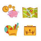 Business cartoon icons. Cartoon business icons with map and diagrams Royalty Free Stock Image