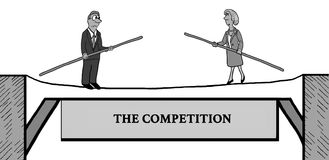 Competition. Business cartoon illustration showing two business people headed toward each other on a tightrope, `the competition Royalty Free Stock Image