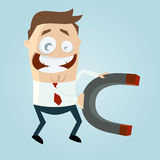 Business cartoon man with big magnet Royalty Free Stock Photo