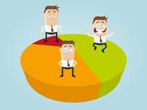 Business cartoon men on diagram Royalty Free Stock Photography