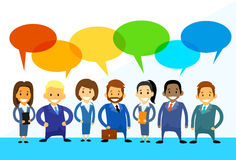 Business Cartoon People Group Talking Discussing. Chat Communication Social Network Flat Icon Vector Illustration vector illustration