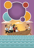 Business cartoon team on boat. Template for advertising brochure with Business cartoon team on boat Stock Photo