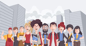 Business cartoon young people in the city Stock Photo