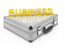 Business case. Metallic silver briefcase isolated on white Royalty Free Stock Photo