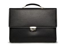 Business case on white (front view). Black business briefcase with shadow on white background and clipping path Stock Photo