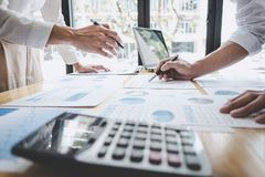 Business casual team manager having a discussion with new project success financial statistics, Partner meeting professional royalty free stock images
