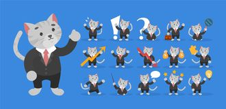 Business cat in a black suit set. Businessman character stock illustration