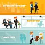 Business Cat Horizontal Banner Set. Three colored business cat horizontal banner set with the deal is concluded brainstorm and office clerk headlines vector Stock Photo