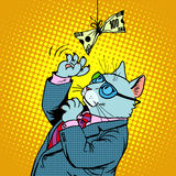 Business cat and money Royalty Free Stock Photography
