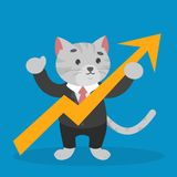 Business cat in a suit holding arrow rising up vector illustration
