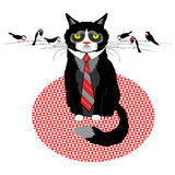 Business cat. Cat in tie with birds,negotiation, business look, vector illustration Stock Photo